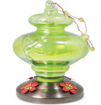Green Art Glass Hummingbird Feeder w/ Copper Plate  88180
