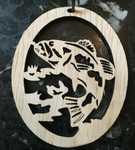 Hand-Crafted Bass in Water Christmas Ornament