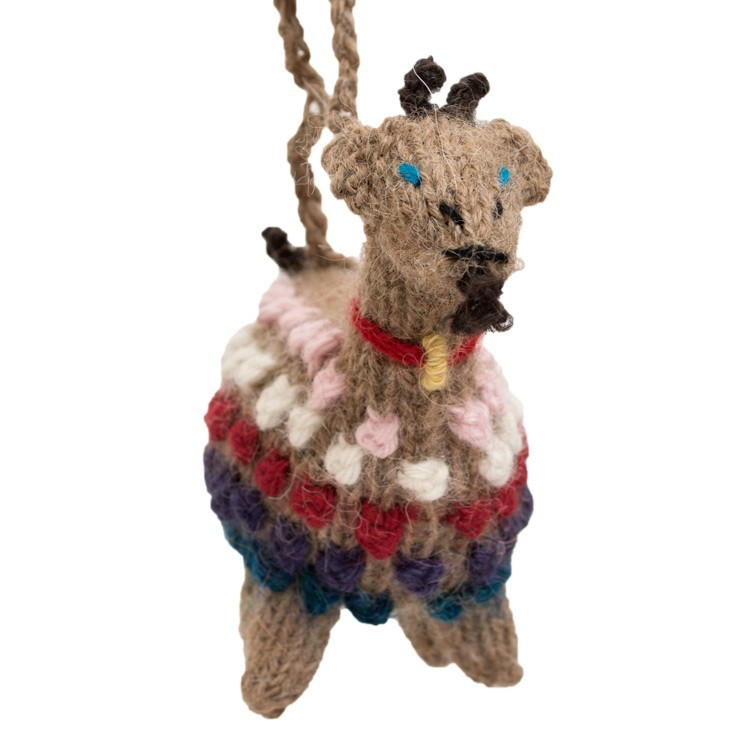 alpaca knitted goat ornament