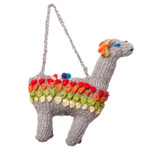Llama Hand-Knitted Christmas Ornament