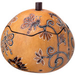 Whimsy Bees Small Hand-carved Gourd Trinket Box