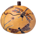 Whimsy Dragonflies Hand-carved Gourd Trinket Box
