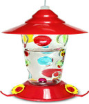 Glass Hummingbird Feeder w Handpainted Dots 88026