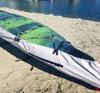 Underside of kayak cover showing use of v-loops.