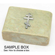 Natural Stone Keepsake Box with a Russian Orthodox Cross
