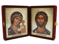 Christ Pantocrator and the Virgin of Kazan Diptych Icon - Burgundy Velvet