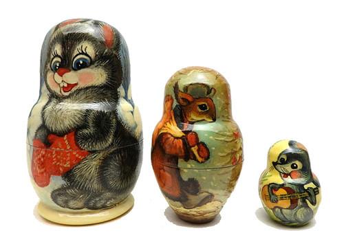 Bunny, Squirrel and Mouse Matryoshka Doll