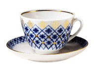 Snowflake Teacup and Saucer from Lomonosov Porcelain