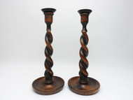 Antique Wood Turned Candle Sticks - IRAA