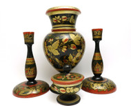 Group of vintage Khokhloma pieces including vase, candle holders and a small salt box