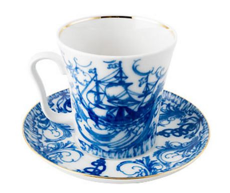 Sea Ships Lomonosov Coffee Mug and Saucer