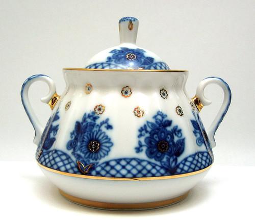 Exceptional shaded Bridesmaid porcelain sugar bowl from Lomonosov