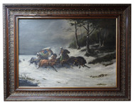 Antique Impressionist painting of a Troika