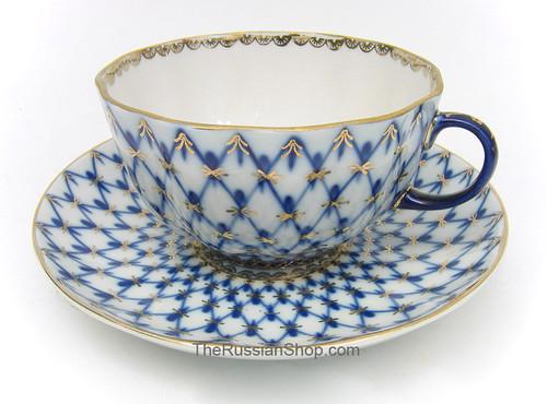 Cobalt Net Teacup and Saucer Lomonosov Porcelain