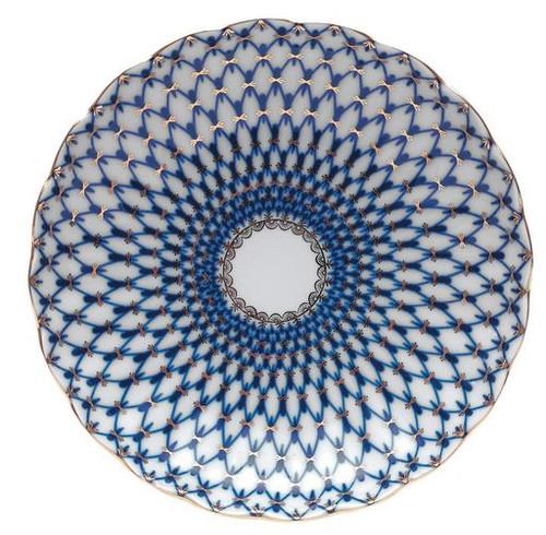 Cobalt Net Cake Plate from Lomonosov Porcelain