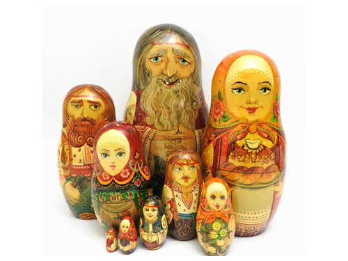 Russian Peasant Family Artistic Matryoshka Doll