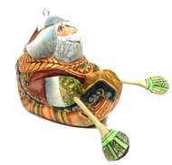 Santa in a Kayak Studio KIKIN Ornament