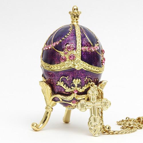 "Mini Royal Purple Egg Box w/Cross [2½""]"