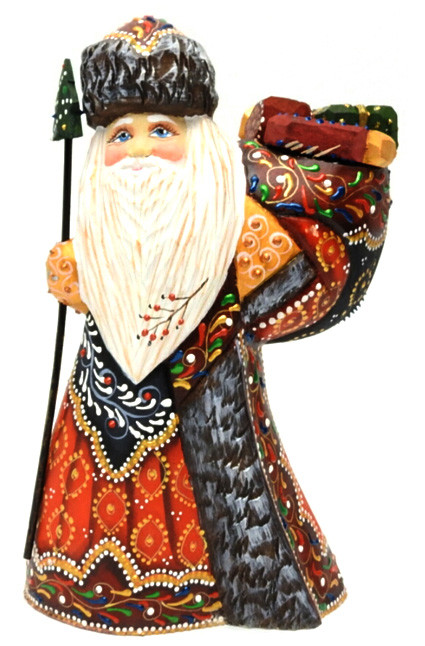 Grandfather Frost with Gifts Wood Carving from Russia