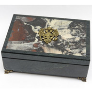 Russian Marble Jewelry Box with Double Eagle Coat-of-Arms