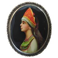 Boyarishnya With Braid. Brooch with miniature painting.
