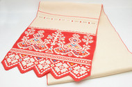 Embroidered lace and cotton table runner