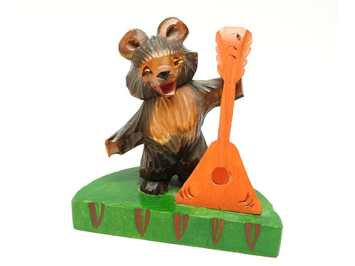 Bear with Balalaika Bogorodsk Carving