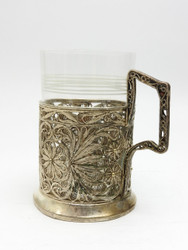 Vintage Kazakovo Filigree Tea Glass Holder, mid-century Russia