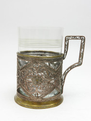 Vintage Mid-Century Kazakovo Tea Glass Holder (rubbed)
