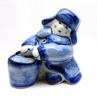 Boy Carrying Water Gzhel Figure
