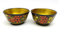 Khokhloma Small Bowls, matching pair