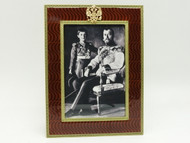 Nicholas II with His Son Portrait Amber Faberge Frame