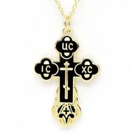BLACK Enamel Russian Cross with Chain EC