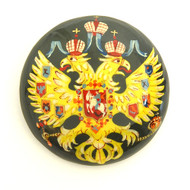 Russian Lacquer Double-Headed Eagle Pin - Green [Hand Painted]