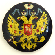Russian Lacquer Double-Headed Eagle Pin - Deep Blue [Hand Painted]