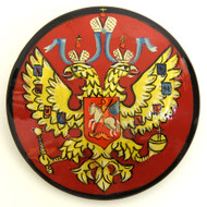 Russian Lacquer Double-Headed Eagle Pin - Red [Hand Painted]