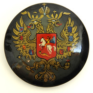 Russian Lacquer Double-Headed Eagle Pin - Black [Hand Painted]