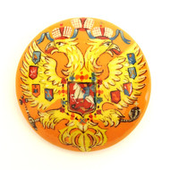 Russian Lacquer Double-Headed Eagle Pin - Button Yellow  [Hand Painted]