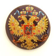 Russian Lacquer Double-Headed Eagle Pin - Button Brown  [Hand Painted]