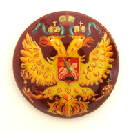 Russian Lacquer Double-Headed Eagle Pin - Button Red  [Hand Painted]
