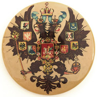 Russian Lacquer Double-Headed Eagle Pin  - Tan [Hand  Painted]