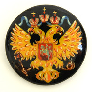 Russian Lacquer Double-Headed Eagle Pin  - [Hand  Painted]