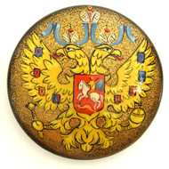 Russian Lacquer Double-Headed Eagle Pin  - Golden  [Hand  Painted]