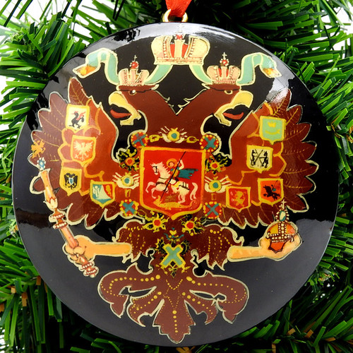Hand Painted Imperial Russian Eagle Christmas Ornament