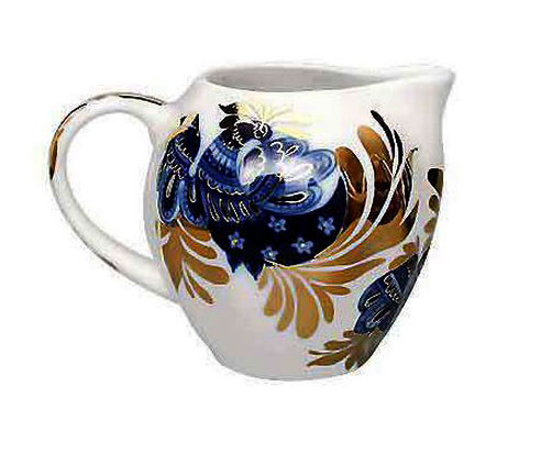 Golden Garden Creamer from The Lomonosov Porcelain Factory in St. Petersburg, Russia