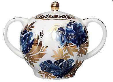 Golden Garden Sugar Bowl from The Lomonosov Porcelain Factory in St. Petersburg, Russia