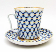 Cobalt Net Coffee Mug and Saucer
