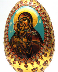 Virgin of Vladimir Painted and Decorated Egg
