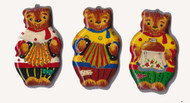 Set of three hand painted Christmas Bear Ornaments