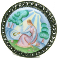 """Maiden by the Water"" Finift Enamel Brooch"